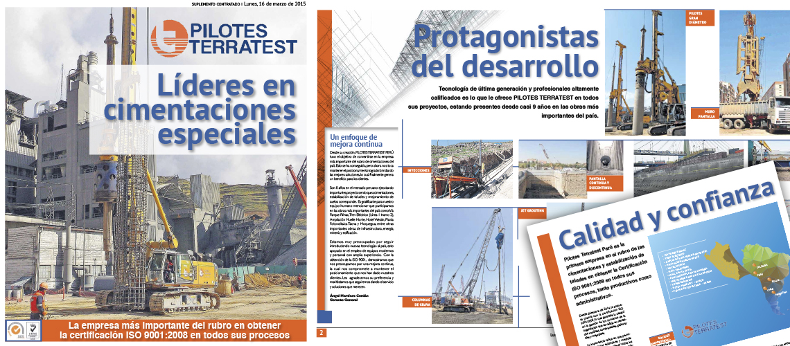 Pilotes Terratest Perú Obtiene la Certificación ISO 9001:2008, siendo la primera empresa de cimentaciones en certificarse en todos sus procesos.